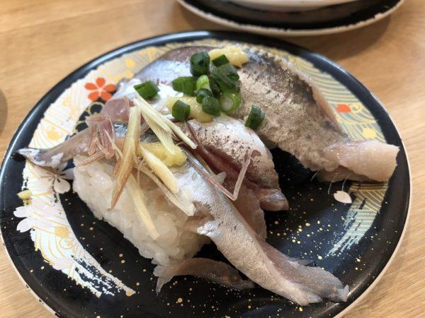 回転寿司四季彩亭青魚三巻