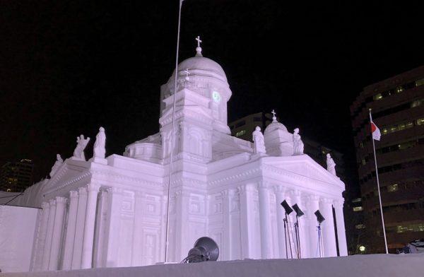 札幌雪まつりヘルシンキ大聖堂雪像