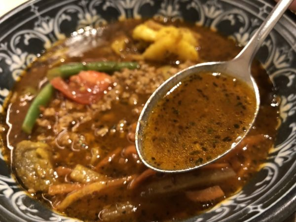 らっきょスパイスキーマのスープカレースープ