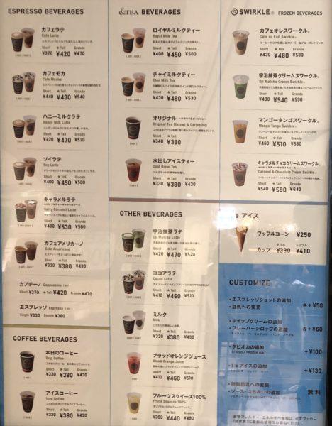 タリーズコーヒーメニュー